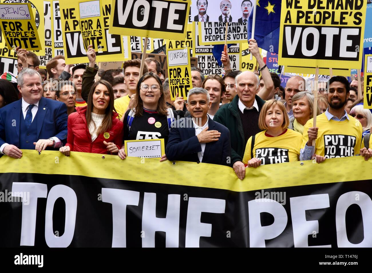 London, UK. 23rd March, 2019. Sadiq Khan, Mayor of London, Sir Vince Cable, People's Vote March, Piccadilly, London.UK Credit: michael melia/Alamy Live News - Stock Image