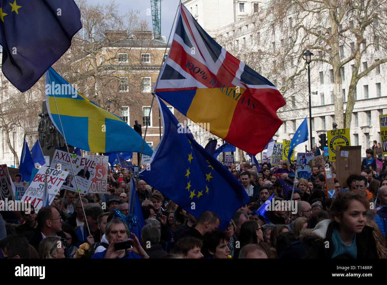 London, UK. 23rd March, 2019.  The Put it to the People March in London: people with home-made placards callling for a People's Vote march past the gates of Downing Street on Whitehall. Credit: Anna Watson/Alamy Live News - Stock Image