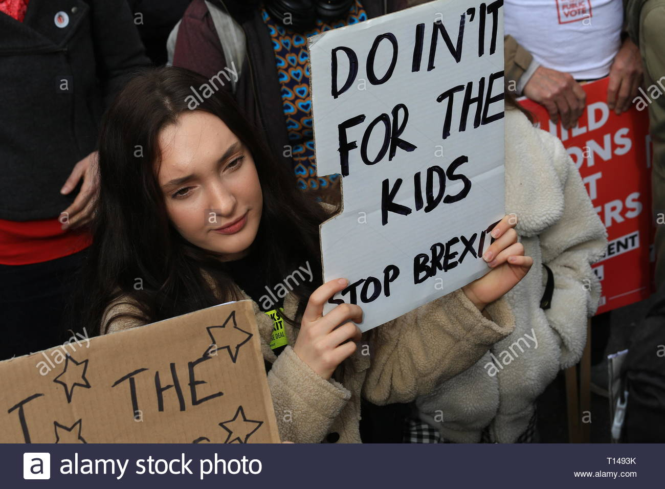 A young woman at the People's march today in London - Stock Image