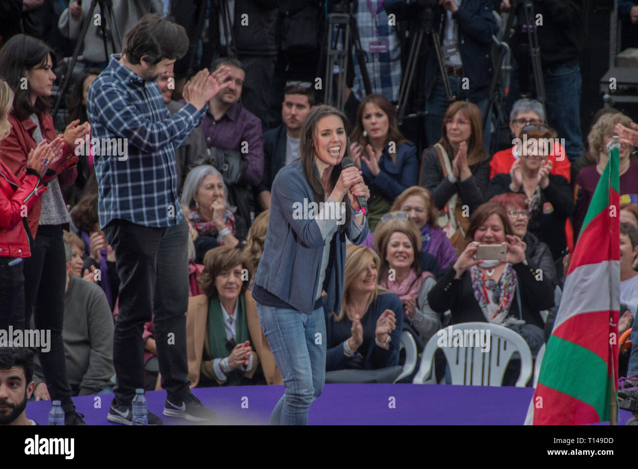 Madrid, Spain, 23rd March, 2019. Irene Montero second leader of Unidas Podemos giving an speech. pre-campaign of the united left party unidas podemos, for the five weeks of the campaign until April 28. Pablo Iglesias reappears in the public scene three months of his retirement to enjoy the paternity leave. the left party has chosen one of the most emblematic places for them the political space the square attached to the reina sofia de madrid museum. Credit: Alberto Sibaja Ramírez/Alamy Live News - Stock Image