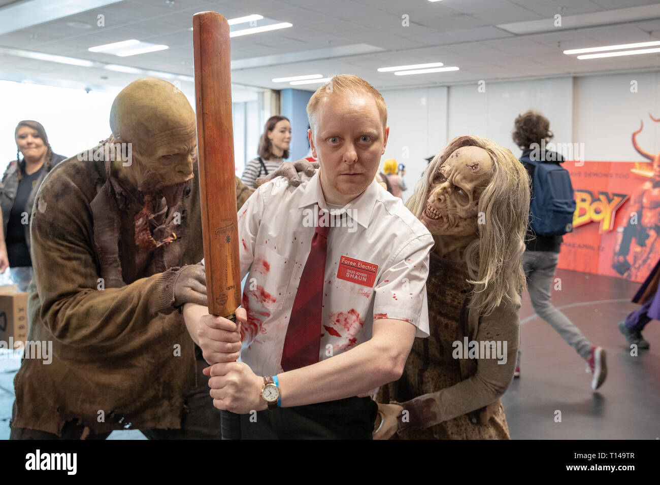 Birmingham, UK. Saturday 23 March 2019. Cosplayers seen in character as Shaun of the Dead on the 1st day of the MCM Comic Con Birmingham at the NEC  , © Jason Richardson / Alamy Live News - Stock Image