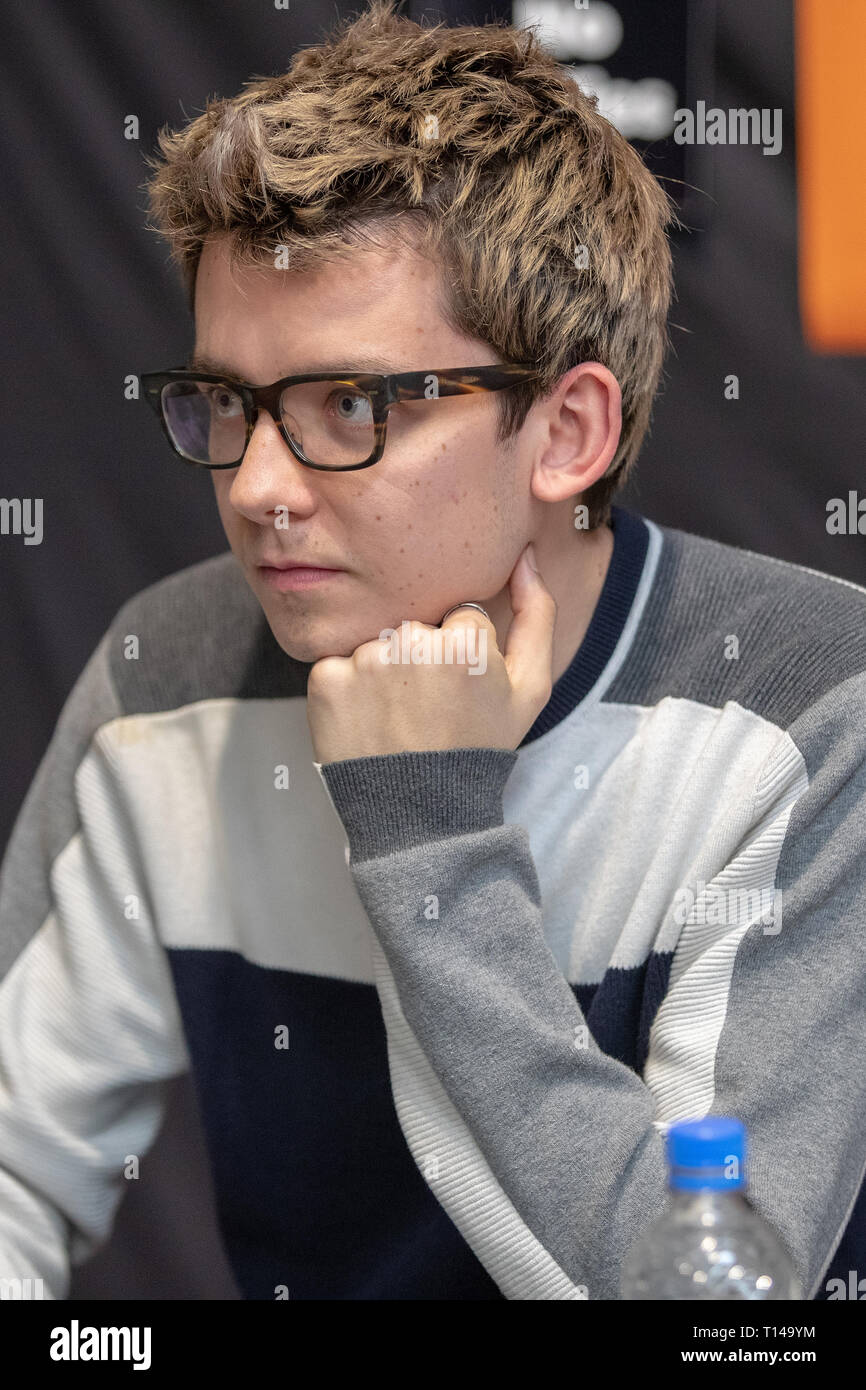 Birmingham, UK. Saturday 23 March 2019. Asa Butterfield during an autograph session on the 1st day of the MCM Comic Con Birmingham at the NEC  , © Jason Richardson / Alamy Live News - Stock Image
