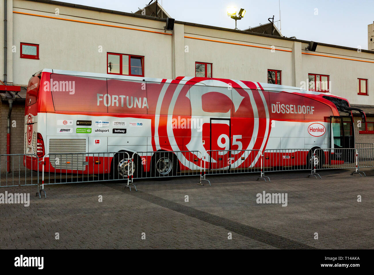 sports, football, Regional League West, 2018/2019, Rot Weiss Oberhausen vs Fortuna Duesseldorf U23 3-3, Stadium Niederrhein in Oberhausen, team bus of Duesseldorf Stock Photo