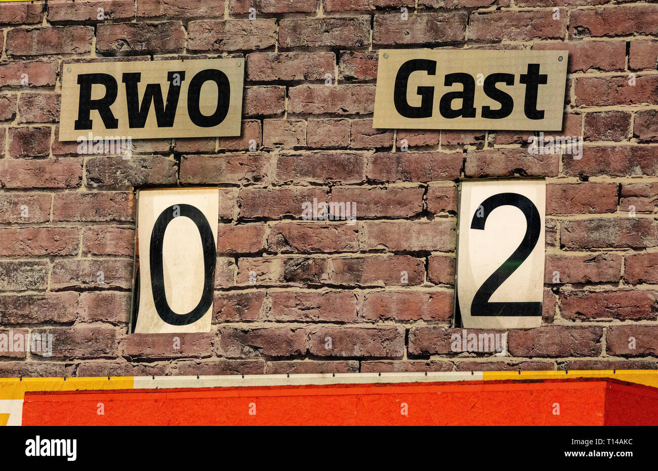 sports, football, Regional League West, 2018/2019, Rot Weiss Oberhausen vs Fortuna Duesseldorf U23 3-3, Stadium Niederrhein in Oberhausen, scoreboard shows the result after 7 minutes, Fortuna Duesseldorf is up 0-2 Stock Photo