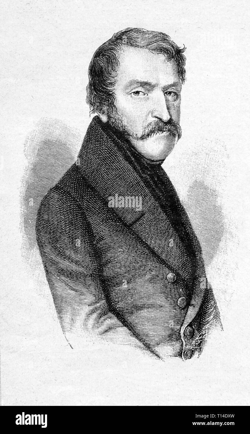 Don Carlos. According to the portrait of Magues. Lassonger lithography. Digital improved reproduction from Illustrated overview of the life of mankind in the 19th century, 1901 edition, Marx publishing house, St. Petersburg. - Stock Image
