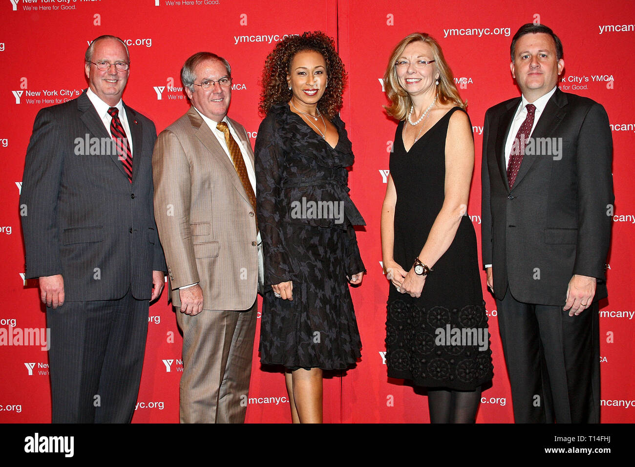 New York, NY, USA. 26 Oct, 2009. President/CEO of YMCA of Greater New York Jack Lund, Chair of the YMCA Board and Chairman/CEO of Con Edison, Kevin Burke, actress, Tamara Tunie, Vice Chair and EVP at The Nielsen Company, Susan Whiting, and President and CEO of Meridian Capital, William Lawrence at The Monday, Oct 26, 2009 YMCA's Arts & Letters Auction and Reception at Frederick P. Rose Hall, Jazz at Lincoln Center in New York, NY, USA. Credit: Steve Mack/S.D. Mack Pictures/Alamy - Stock Image