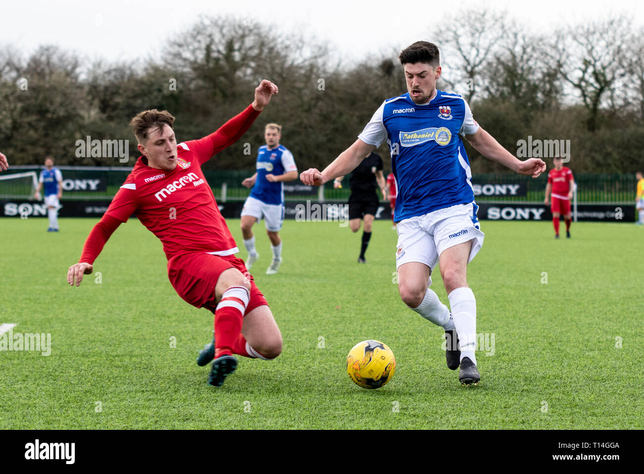 Penybont beat Briton Ferry & Llansawel 2-0 in Welsh Football League Division One at Bryntirion Park. Stock Photo