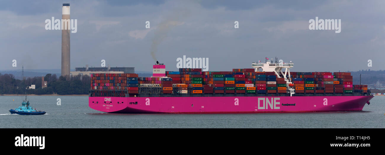 Ship, One,Container, Columbia, Panama, The Solent,heading,to, Southampton,Container Terminal, Cowes, Isle of Wight, Hampshire, England, UK, - Stock Image