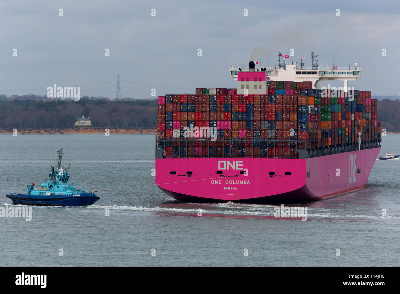Ship, One,Container, Columbia, Panama, The Solent,heading,to, Southampton,Container Terminal, Cowes, Isle of Wight, Hampshire, England, UK, Stock Photo