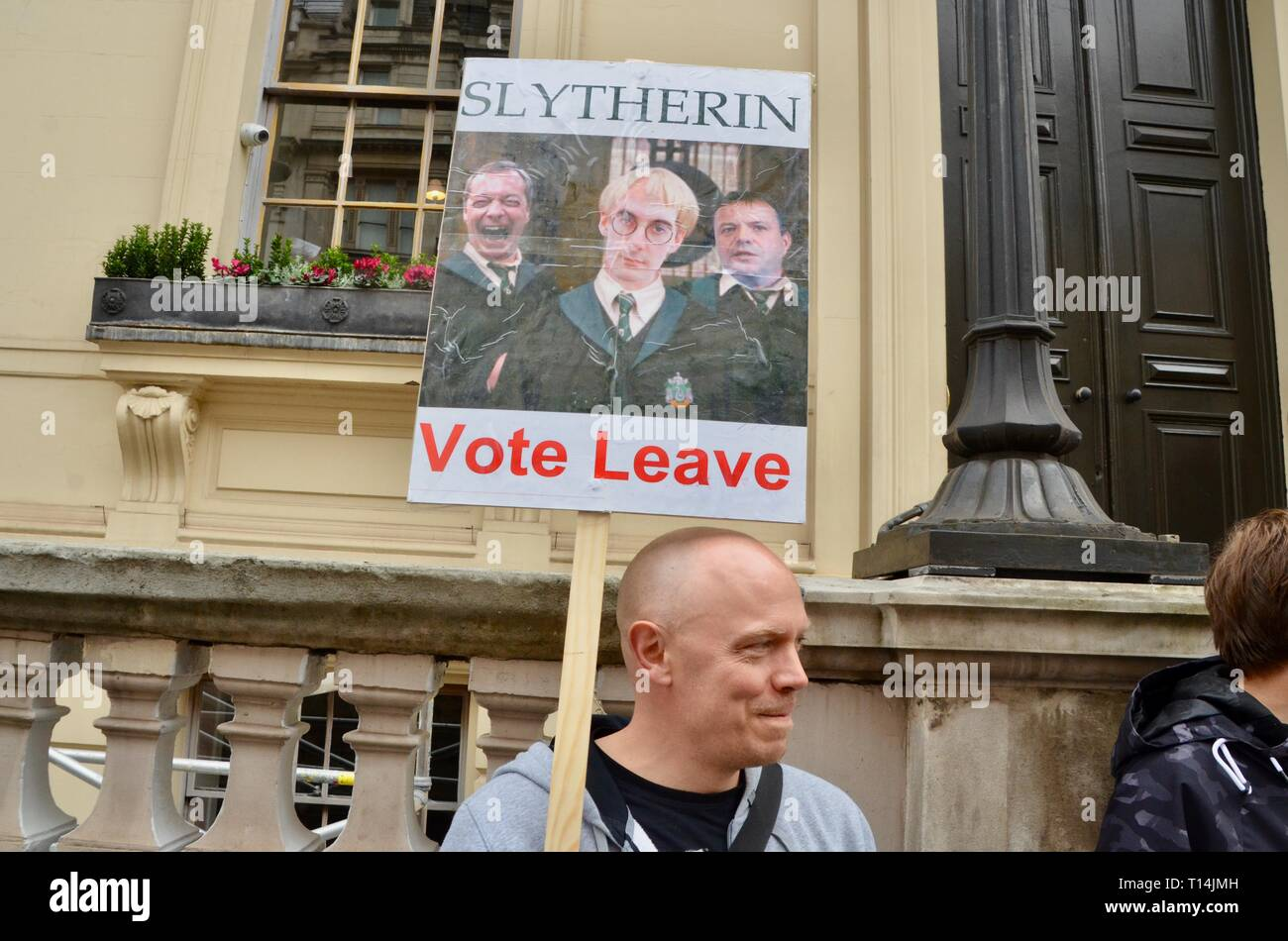 scenes from the anti brexit pro peoples vote march in london 23rd march 2019 man with harry potter based slytherin vote leave placard - Stock Image
