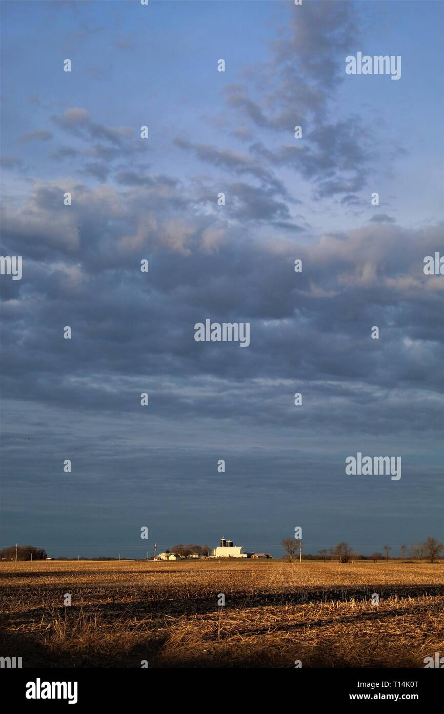 Storm approaching in the western sky, at sunrise, over dairy farm in rural Illinois - Stock Image