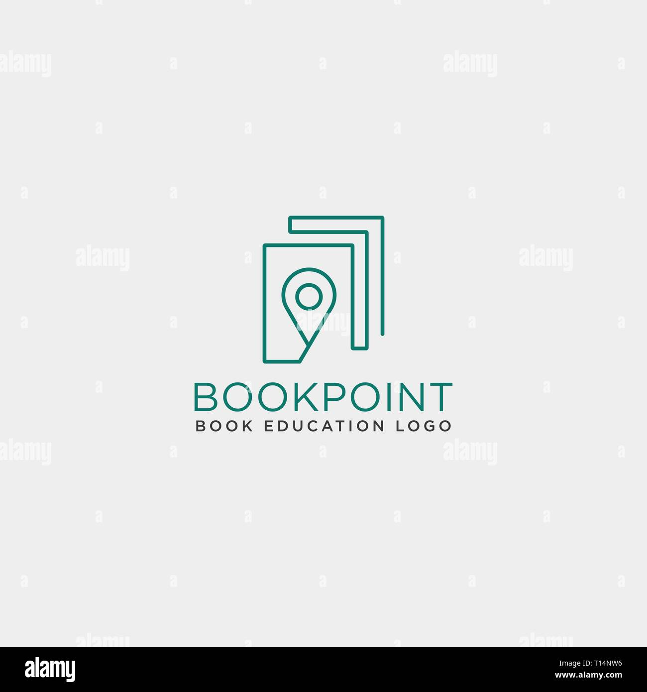 book pin marker or navigation map simple line logo template vector illustration icon element - vector file - Stock Vector