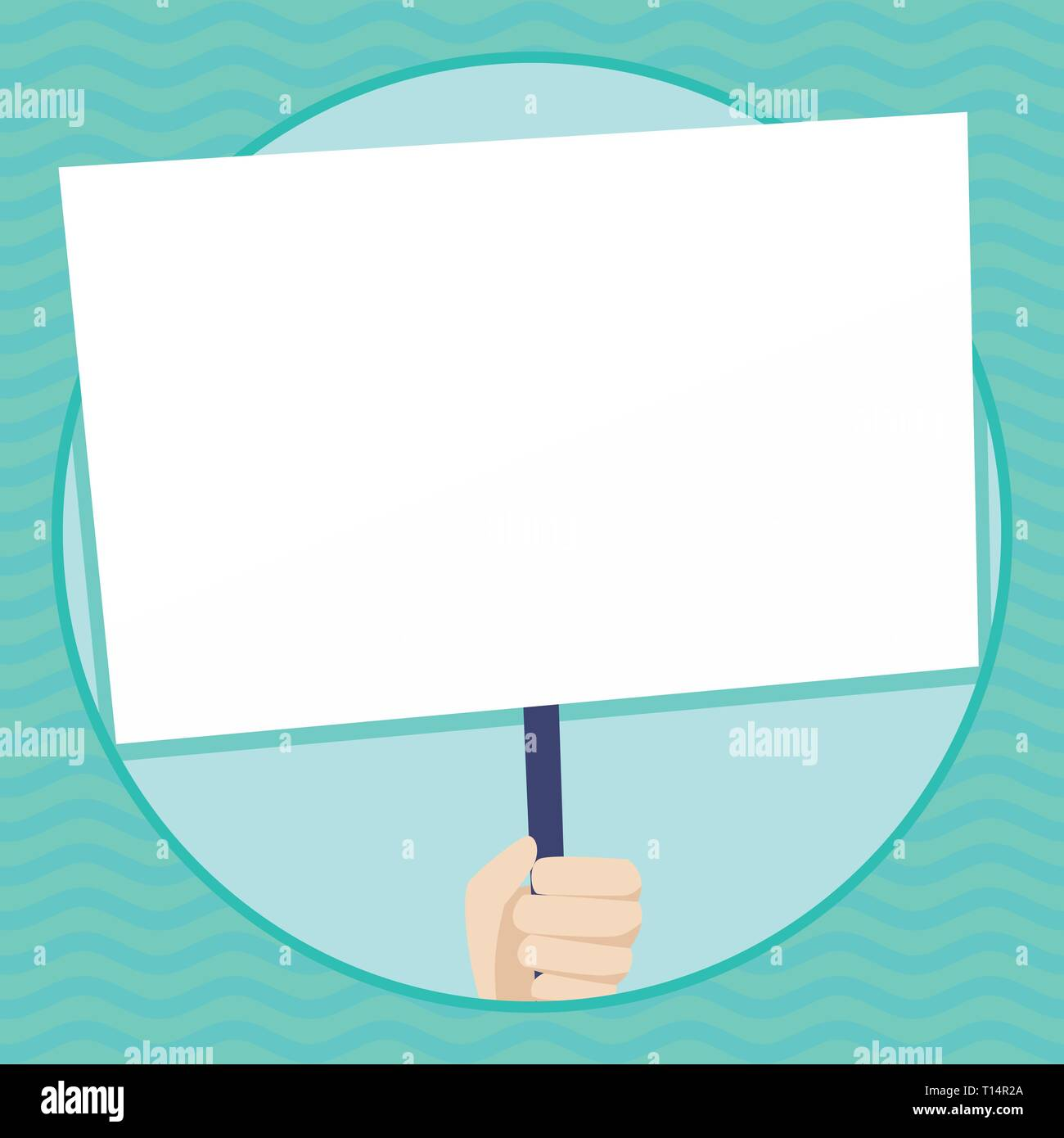 Hand Holding Blank White Placard Supported by Handle for Social Awareness Copy Space design Empty template text for Ad, promotion, poster, flyer, web  - Stock Vector