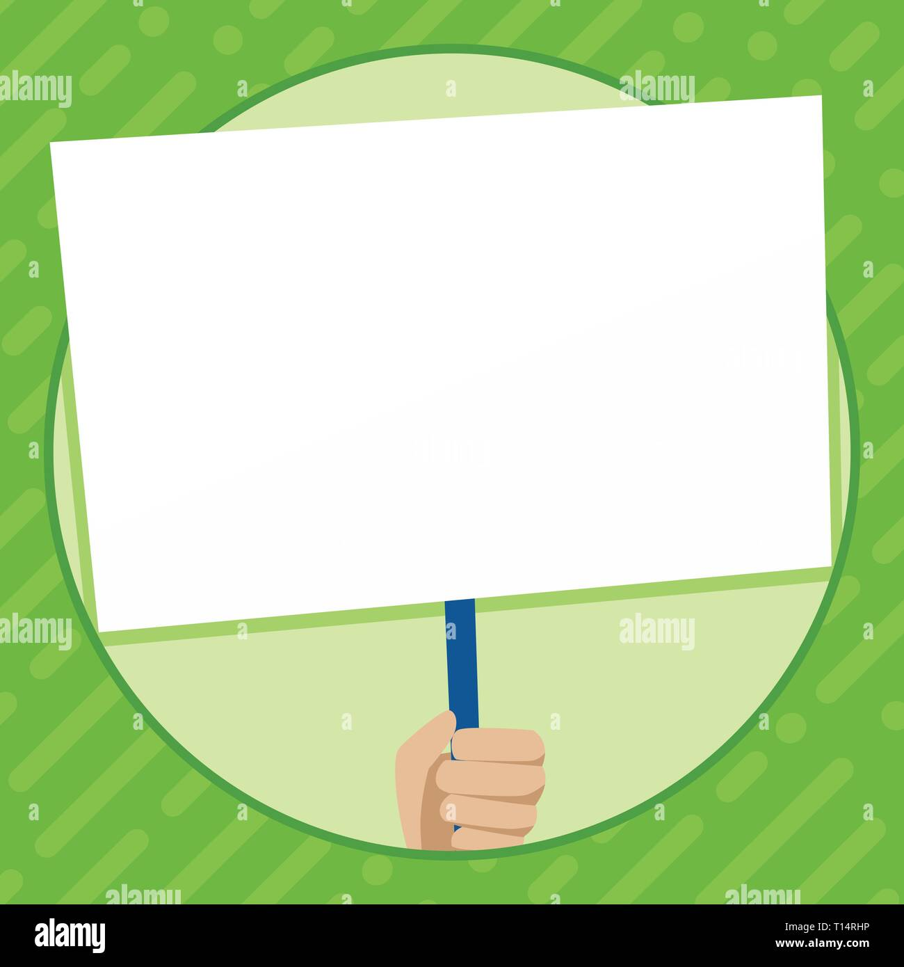 Hand Holding Blank White Placard Supported by Handle for Social Awareness Design business concept Empty copy text for Web banners promotional material - Stock Vector