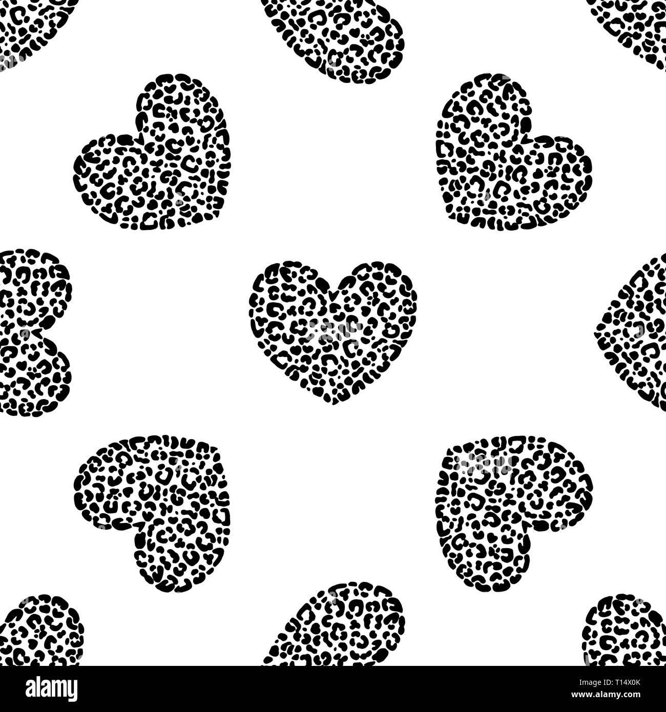 f605dc8bc474 Seamless pattern of hand drawn sketch style hearts with leopard texture  isolated on white background.