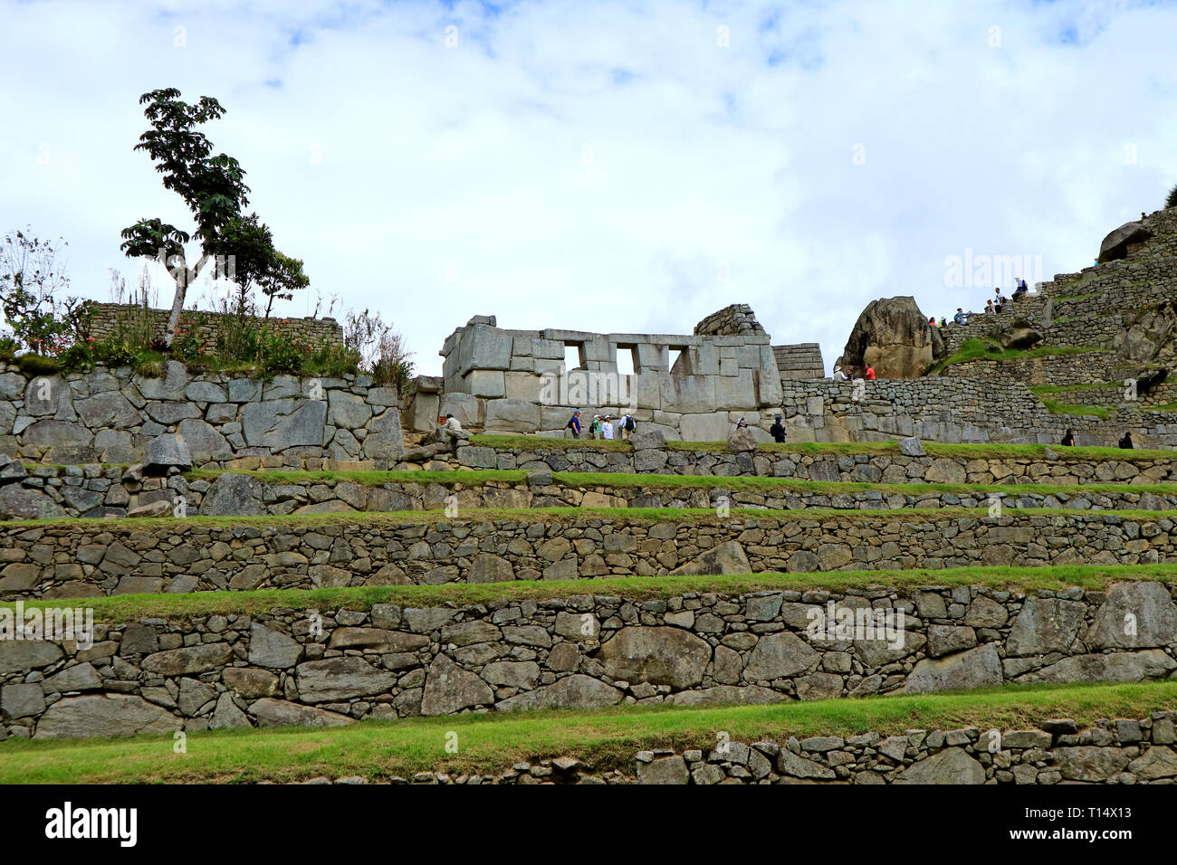 The Remains of Temple of the Three Window in Machu Picchu Inca Citadel, Archaeological site in Cusco, Peru Stock Photo