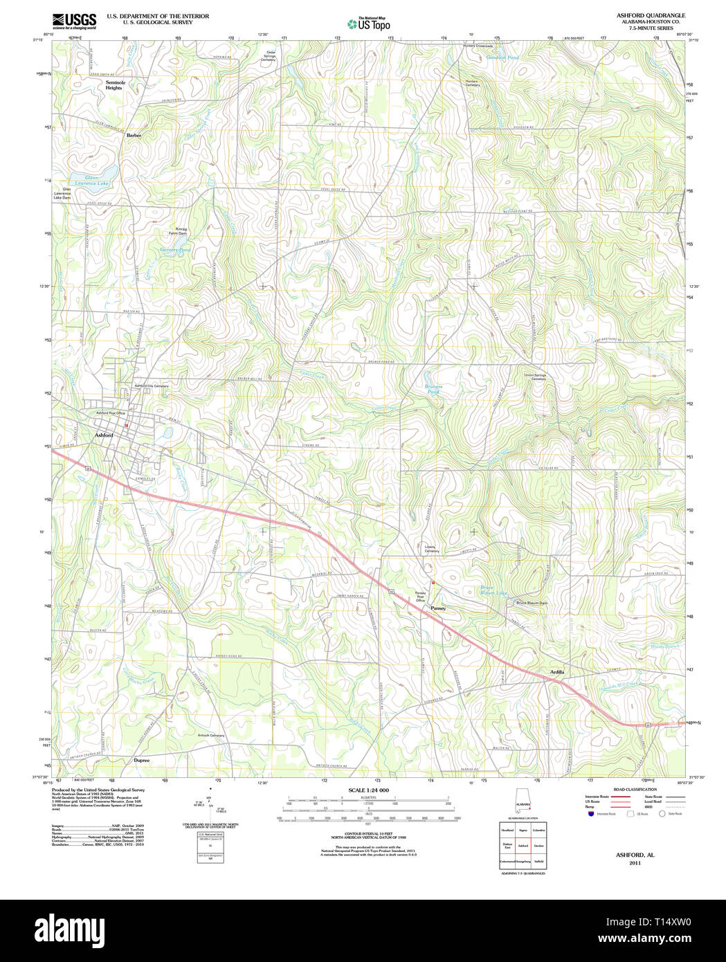 USGS TOPO Map Alabama AL Ashford 20110912 TM Stock Photo ...