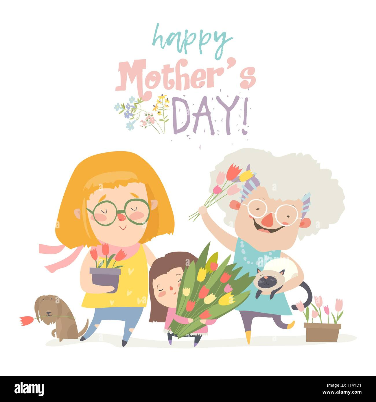 Three generations of women of different ages from child to young adult mother and senior grandmother - Stock Vector