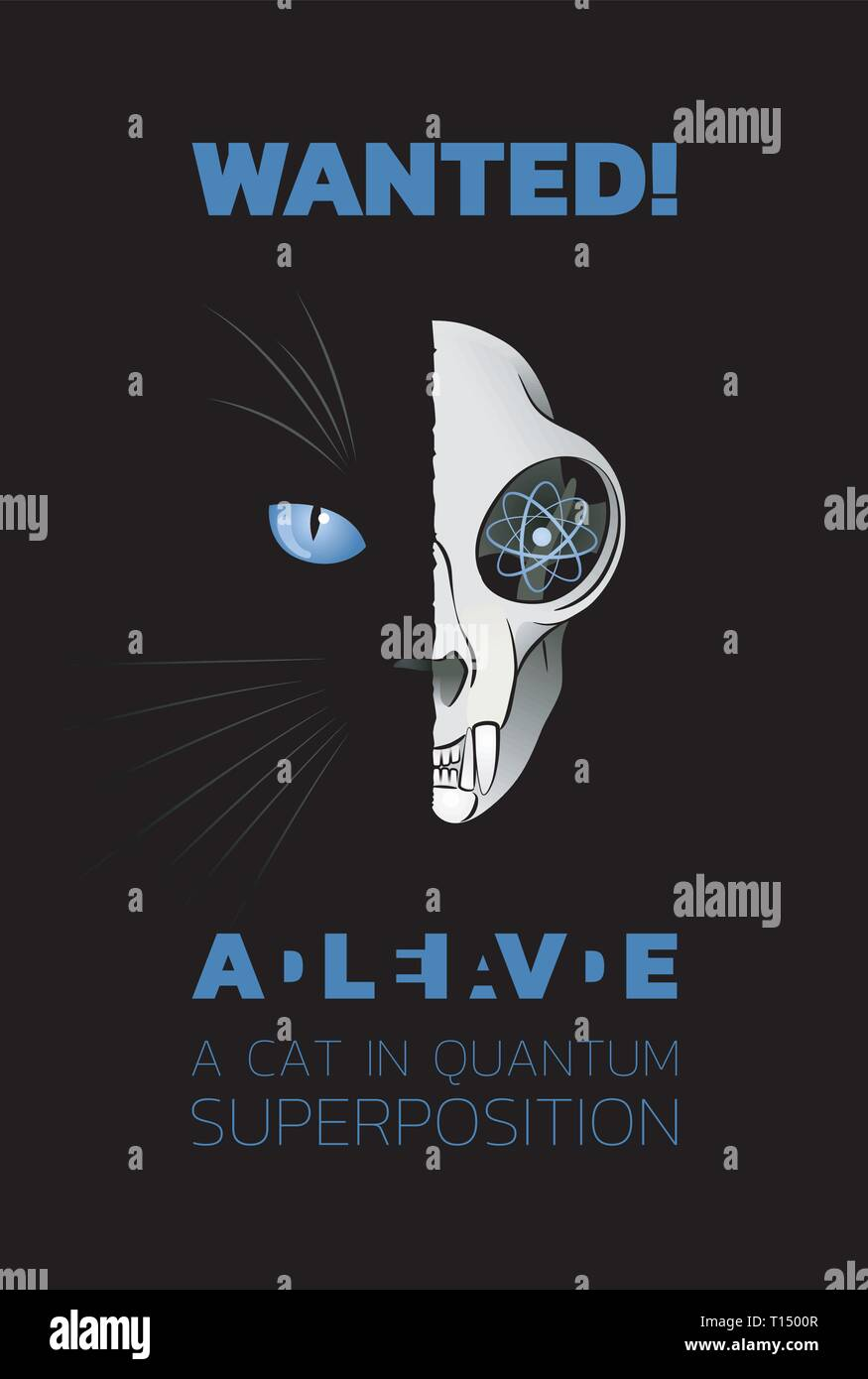 Wanted Dead-And-Alive A Cat In Quantum Superposition - Stock Image