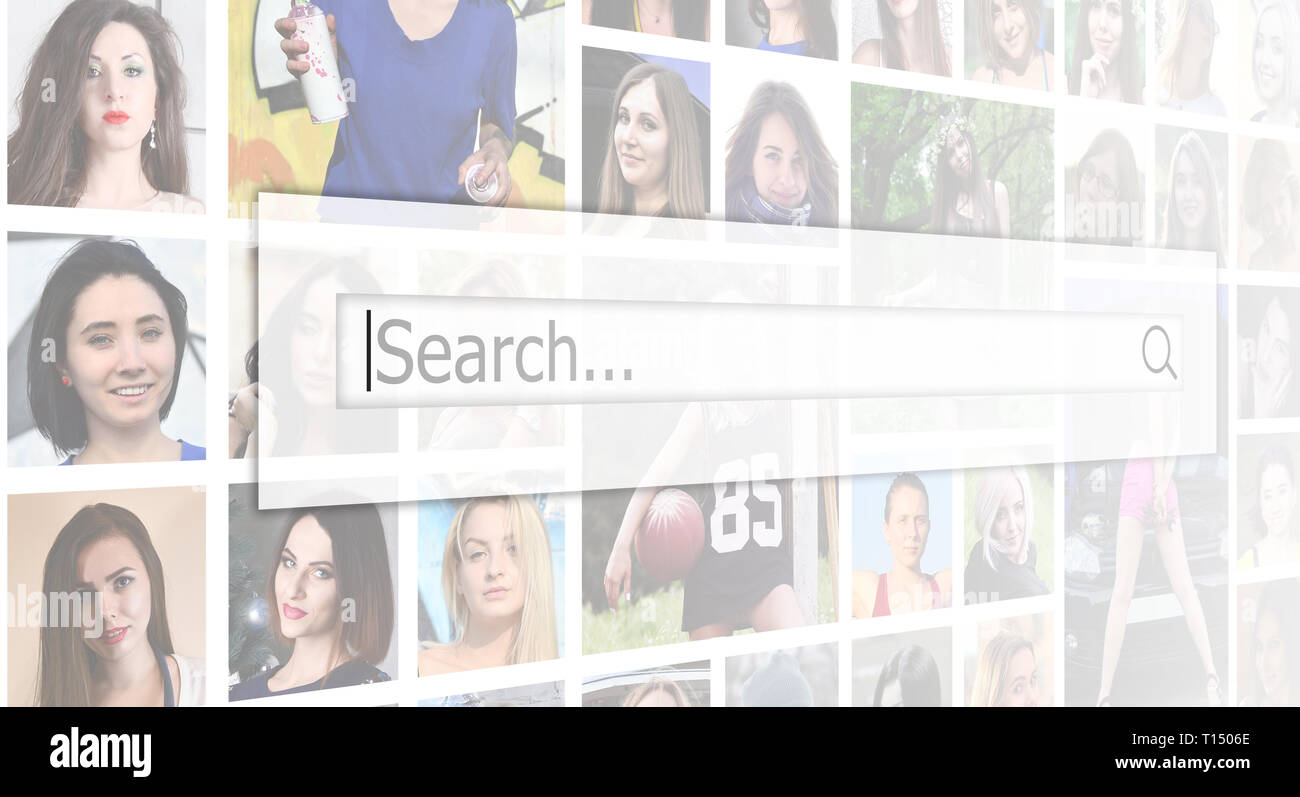 Search. The text is displayed in the search box on the background of a collage of many square female portraits. The concept of service for dating - Stock Image