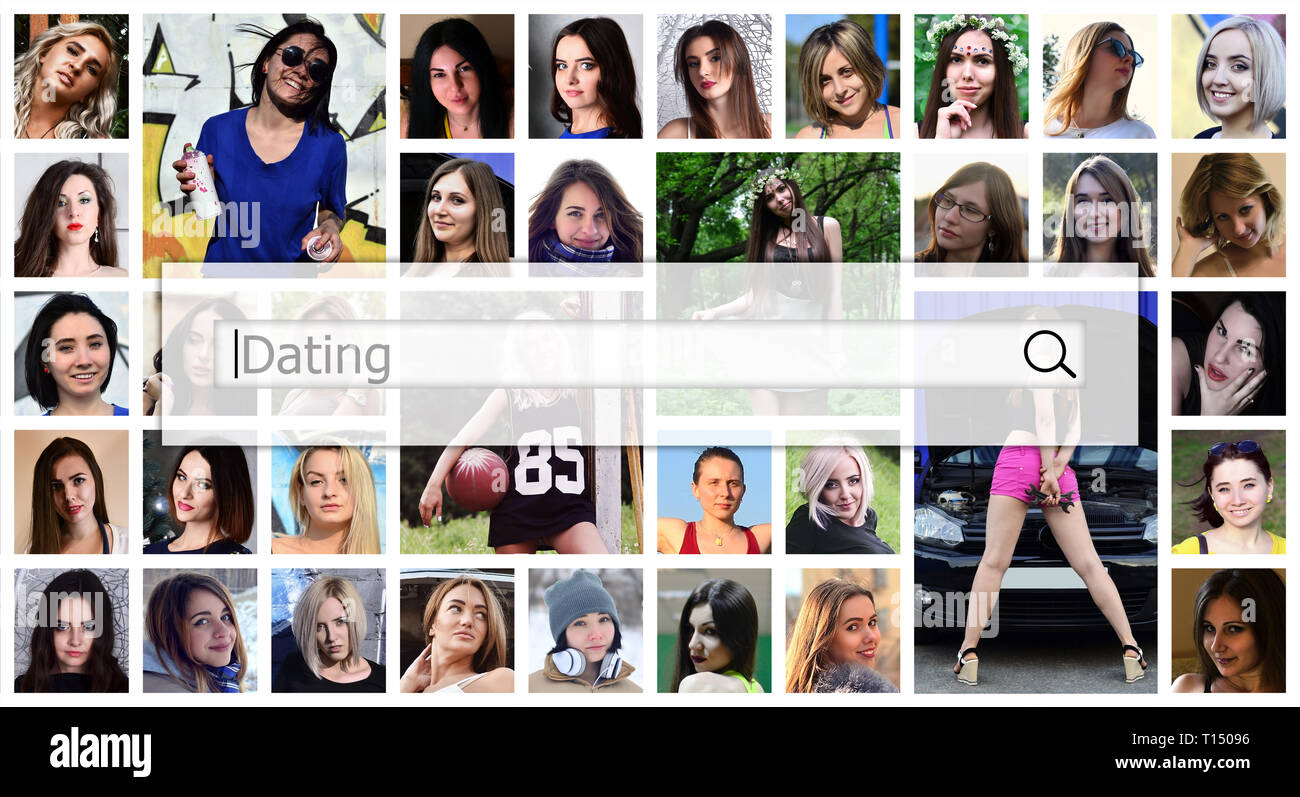 Dating. The text is displayed in the search box on the background of a collage of many square female portraits. The concept of service for dating - Stock Image