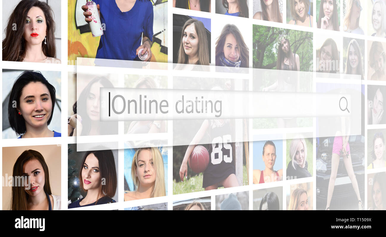 Online dating. The text is displayed in the search box on the background of a collage of many square female portraits. The concept of service for dati - Stock Image
