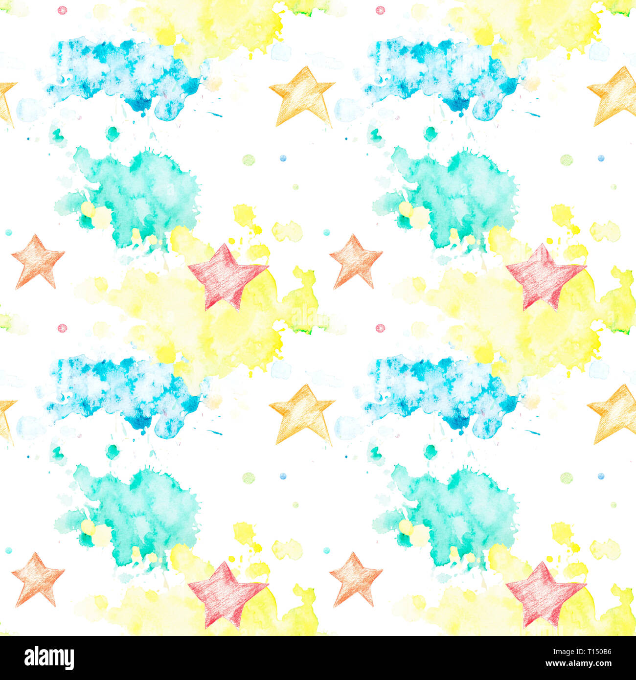 Seamless pattern with multicolored watercolor blots and asterisks on white background. Watercolor spots of yellow, green and blue in the form of cloud - Stock Image