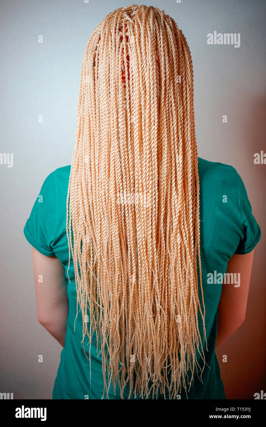 Senegalese Twisted Pigtails Weave Through The Braid Many African Braids Hair Is Removed Into The Hair The Texture Of The Braids Stock Photo Alamy