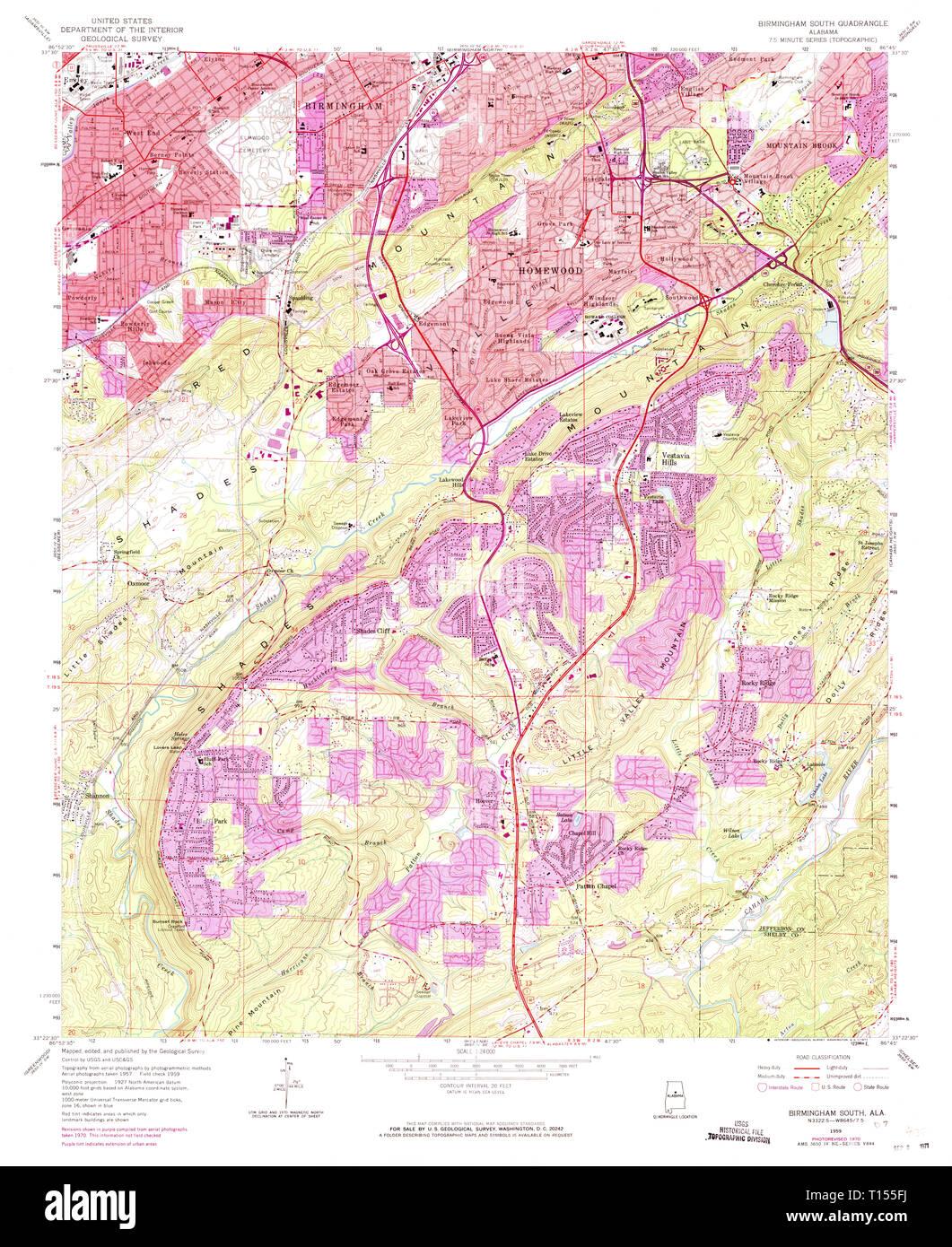 USGS TOPO Map Alabama AL Birmingham South 303252 1959 24000 ...