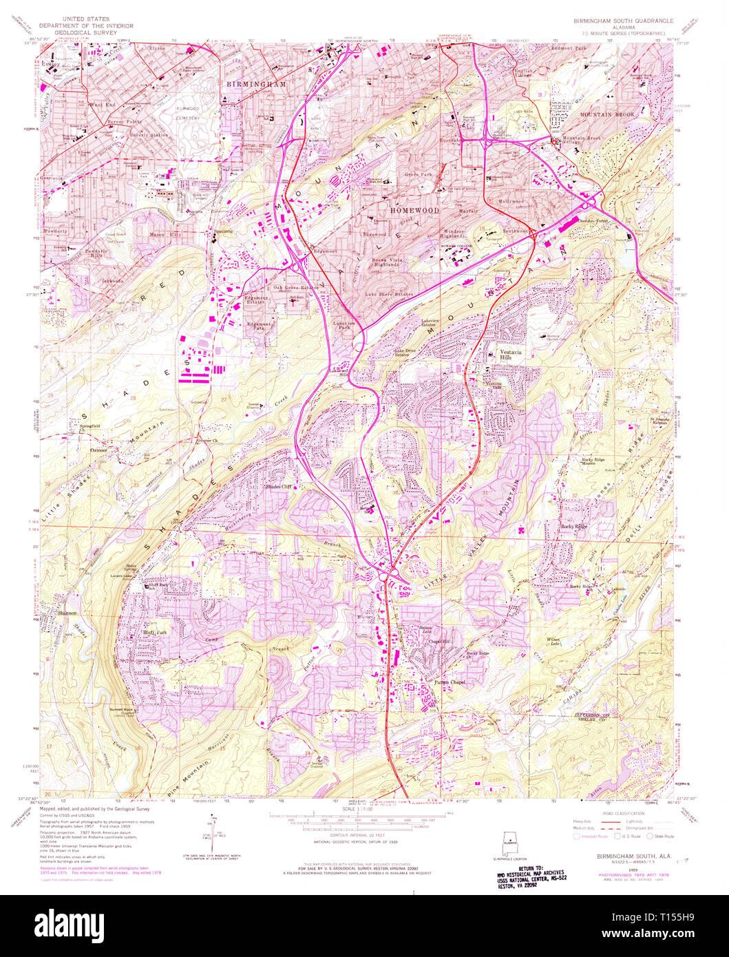 USGS TOPO Map Alabama AL Birmingham South 303254 1959 24000 ...
