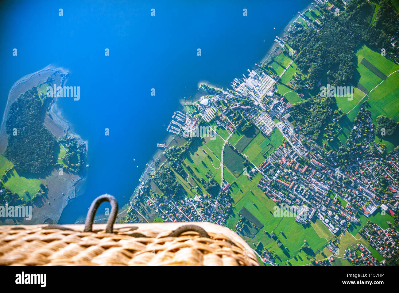 Germany, Bavaria, Chiemgau, Aerial view of Lake Chiemsee, Prien, view from air balloon Stock Photo