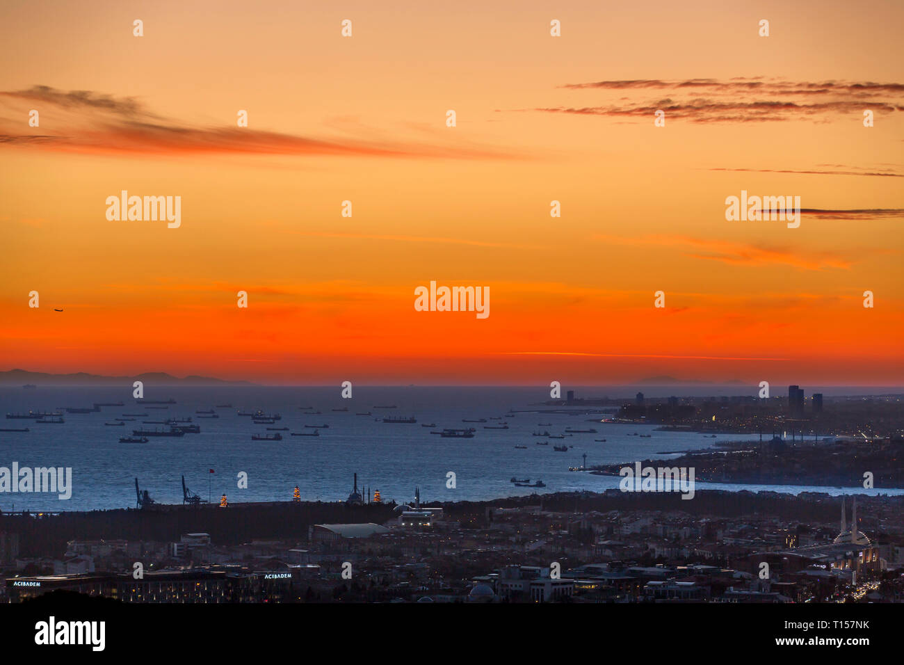 Istanbul, Turkey, 19 January 2018: Sunset of Bosphorus and ships on marmara sea - Stock Image
