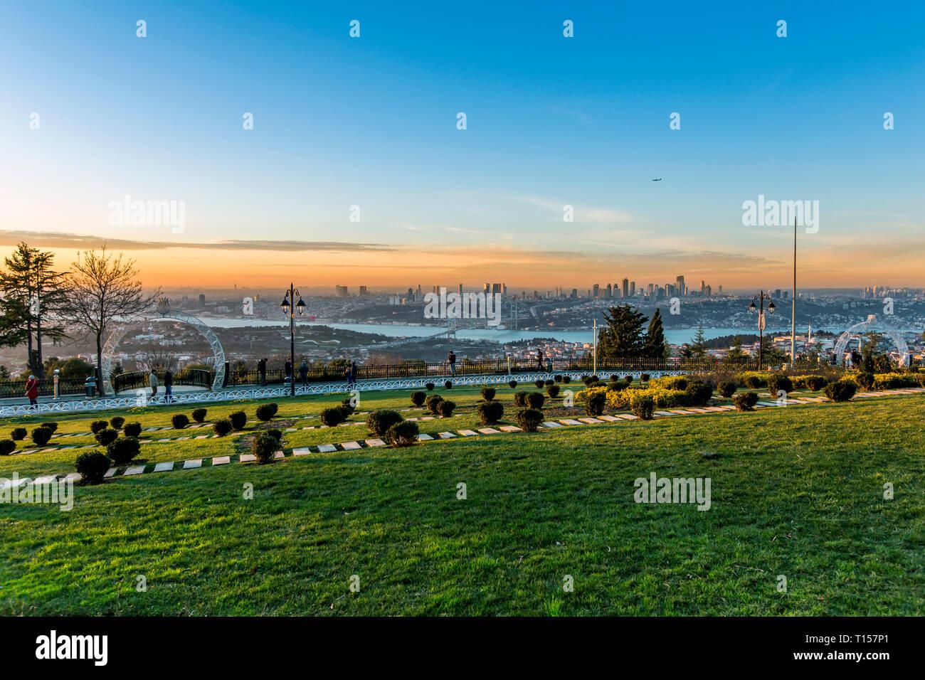Istanbul, Turkey, 19 January 2018: Sunset of Bosphorus - Stock Image