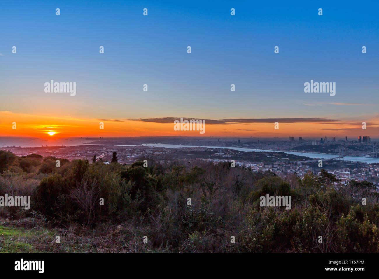 Istanbul, Turkey, 19 January 2018: Sunset of Bosphorus and Bridge - Stock Image