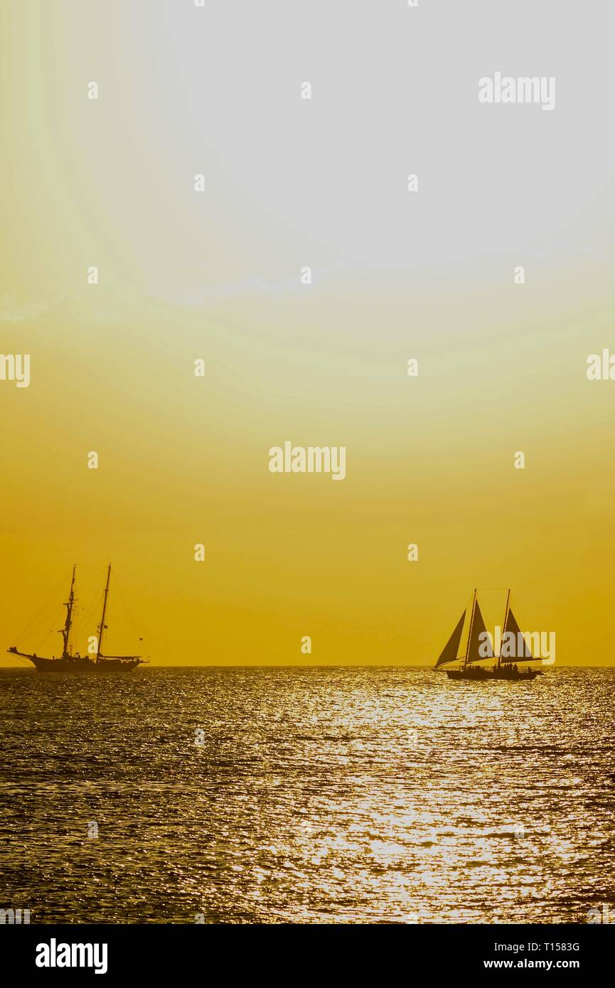 Sunset sail out in waters just off the docks and marina, at golden sunset, near Mallory Square on Key West, Florida Keys, Florida, USA Stock Photo