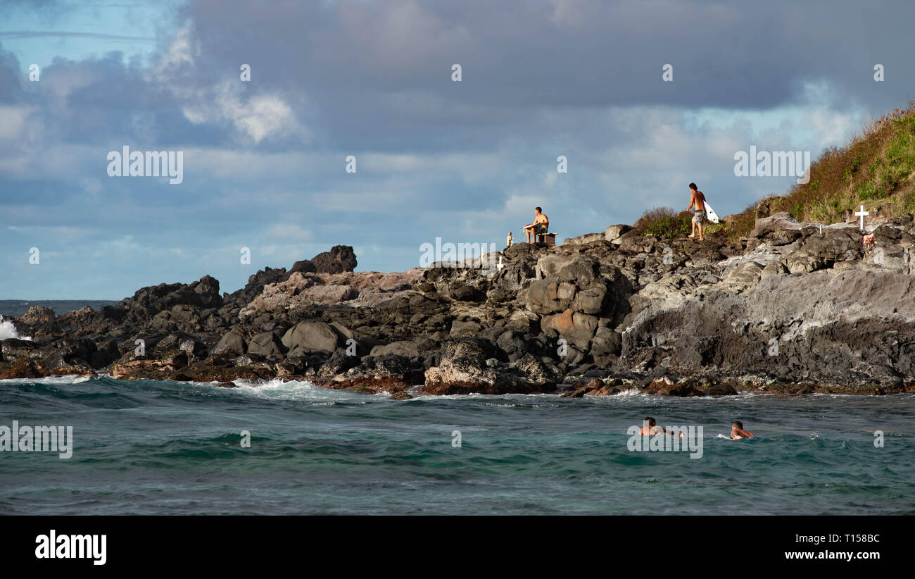 Tremendous and dangerous surf beach at North Shore Maui, Hawaii Stock Photo
