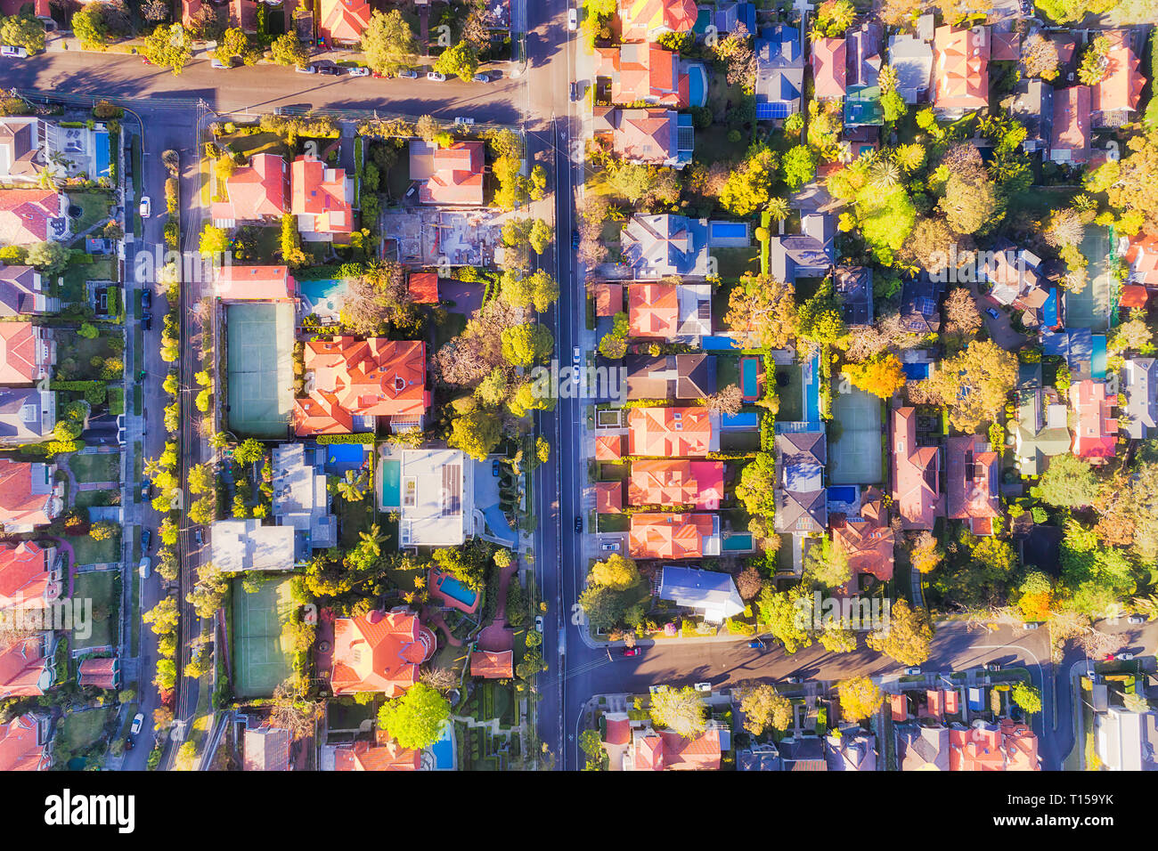 Blocks of prestigeous wealthy houses on lower North Shore in Sydney - rich suburb of Mosman in elevated top down aerial view. - Stock Image