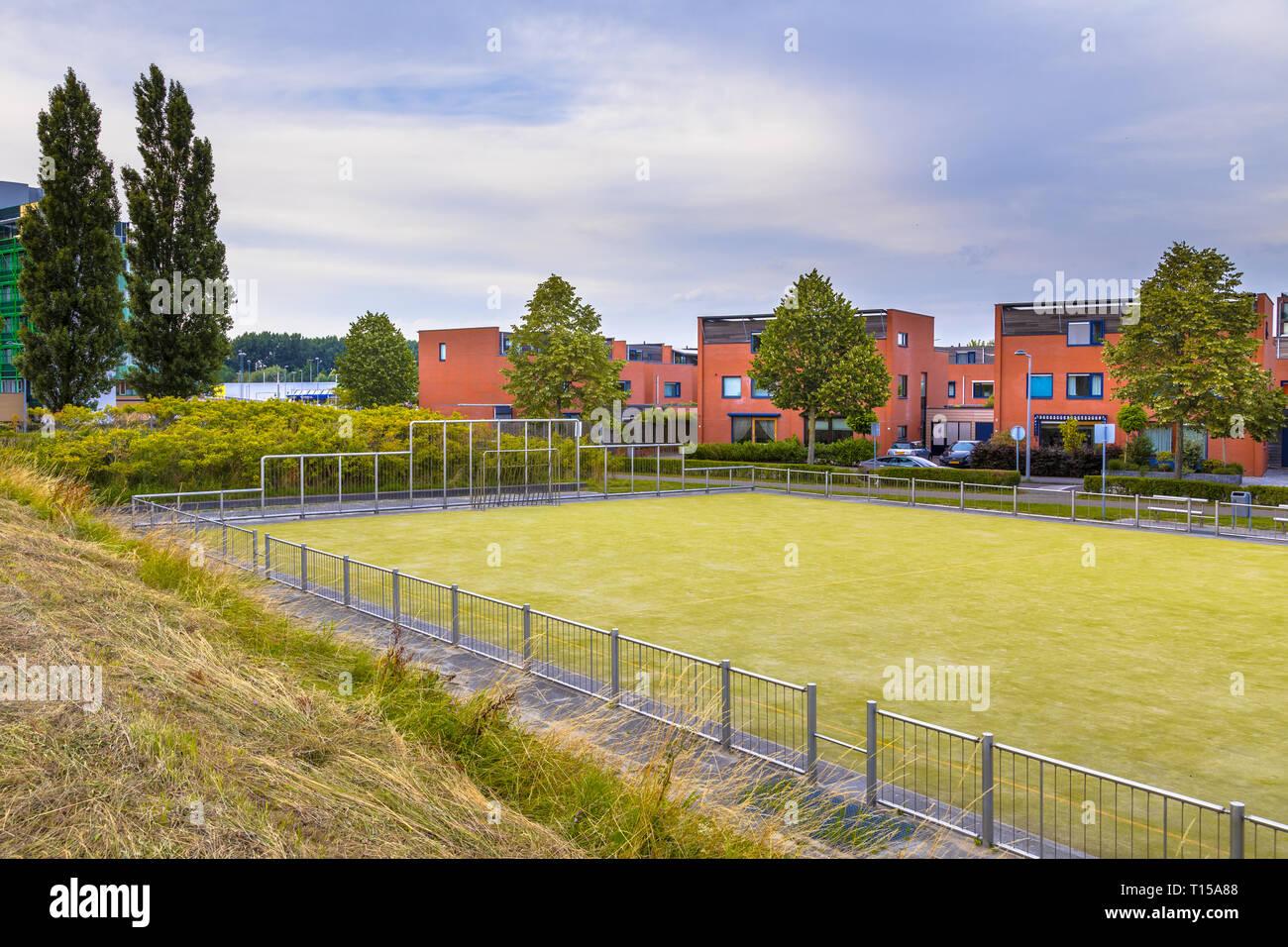 Soccer field in urban residential neighborhood Stock Photo
