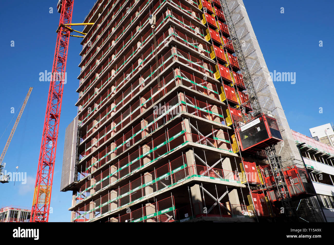 New residential & office space building under construction & crane at Finsbury Tower in 103-105 Bunhill near Old Street London EC1  UK  KATHY DEWITT Stock Photo