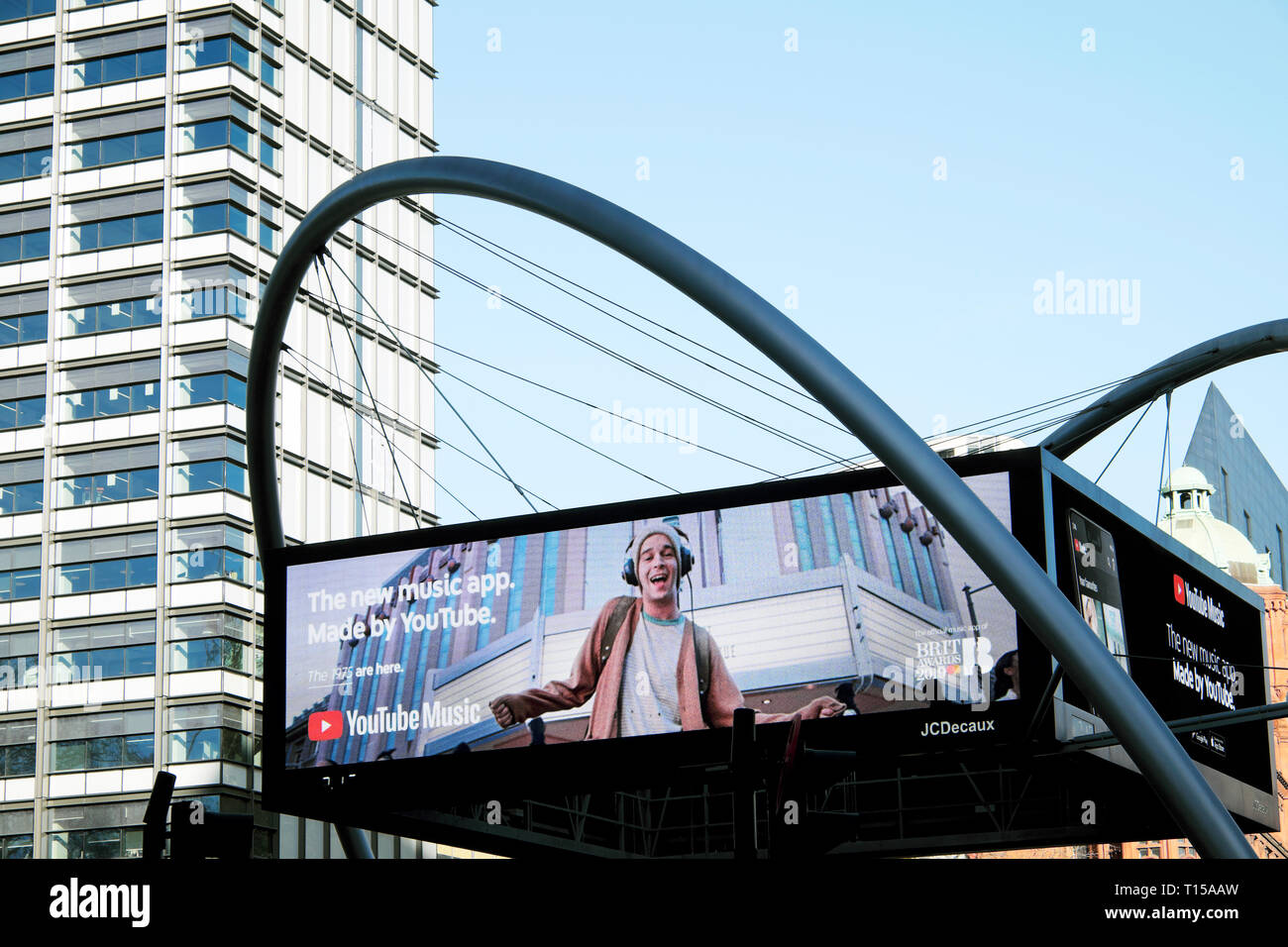 Electronic advert screen at Old Street roundabout In London EC1 England UK  KATHY DEWITT Stock Photo