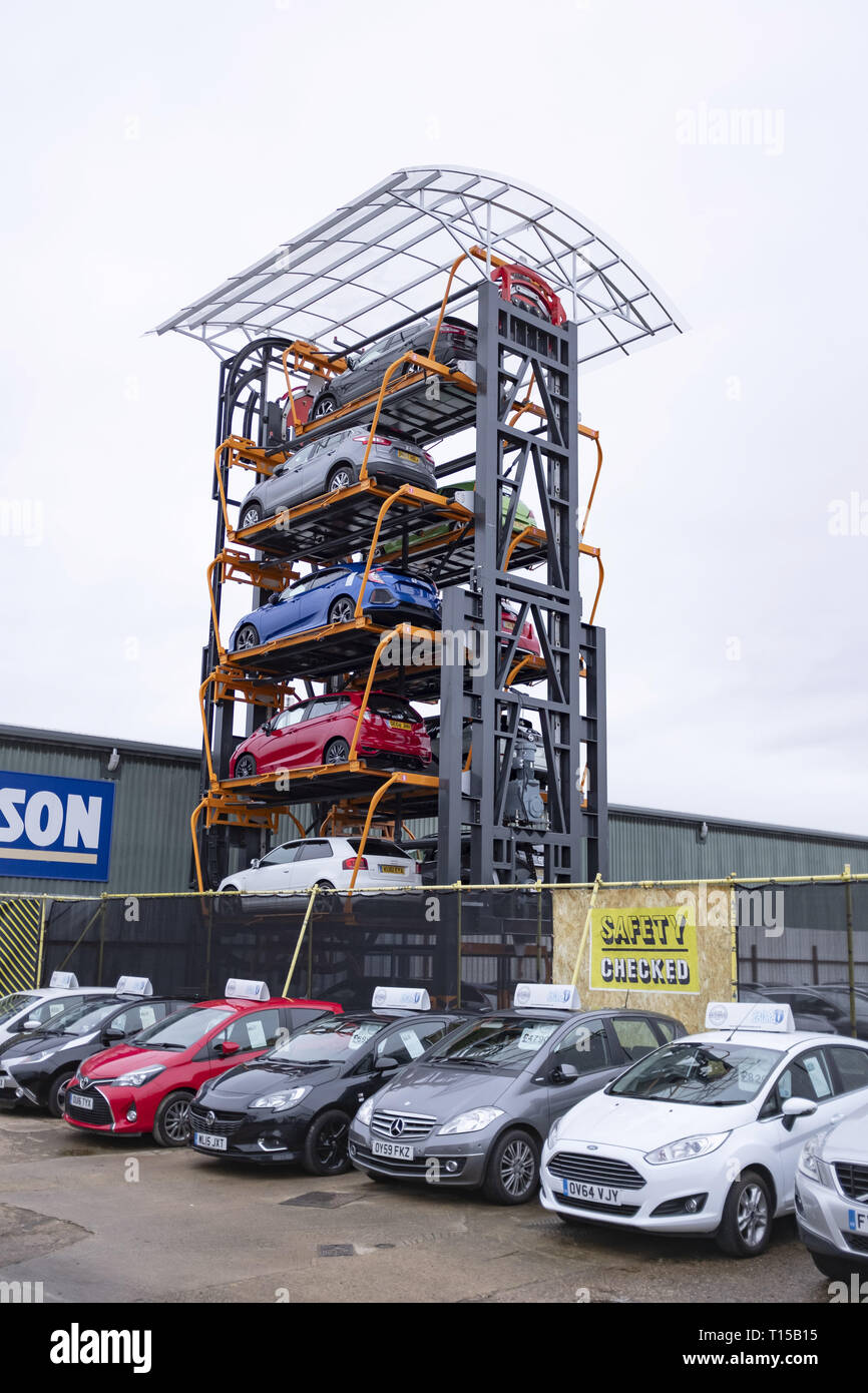 Aylesbury, UK - December 06, 2018. A rotary parking system is used on an industrial estate. The system provides an innovative way to increase parking  - Stock Image