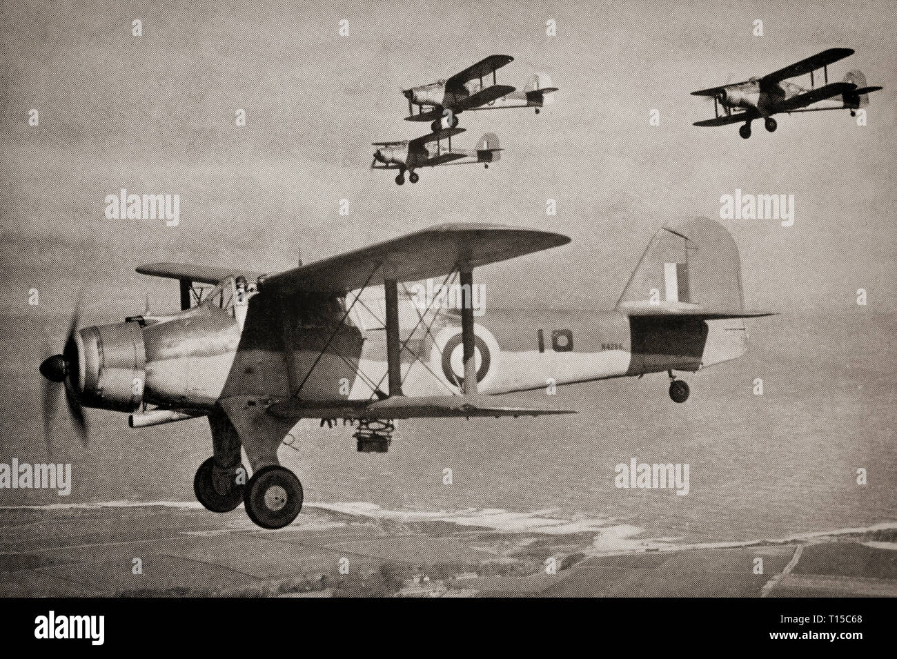 A Flight Of Fairey Albacores A British Single Engine Carrier Borne Biplane Torpedo Bomber Built By Fairey Aviation Between 1939 And 1943 For The Royal Navy Fleet Air Arm And Used During The Second