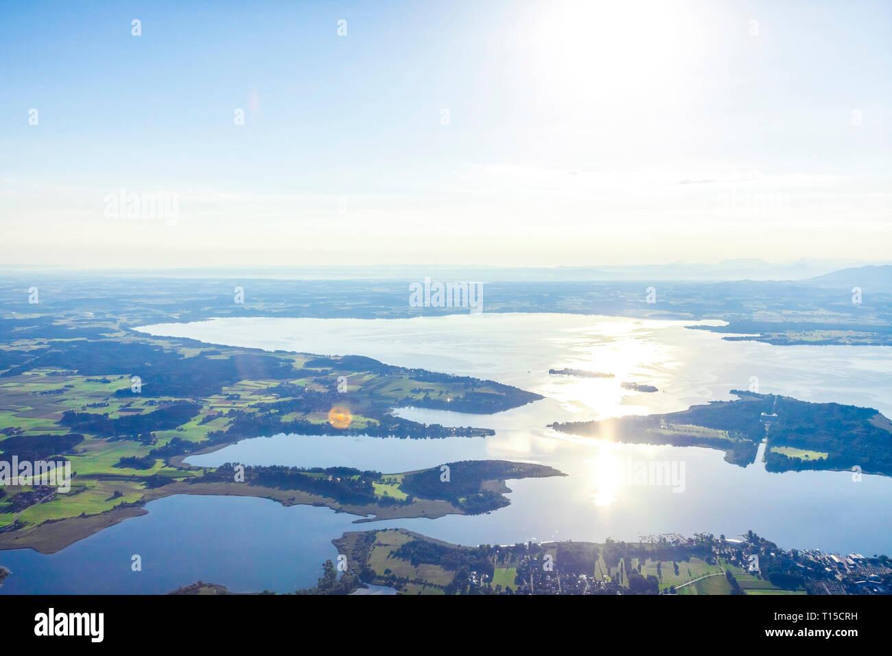 Germany, Bavaria, Chiemgau, Aerial view of Prien and lake Chiemsee Stock Photo