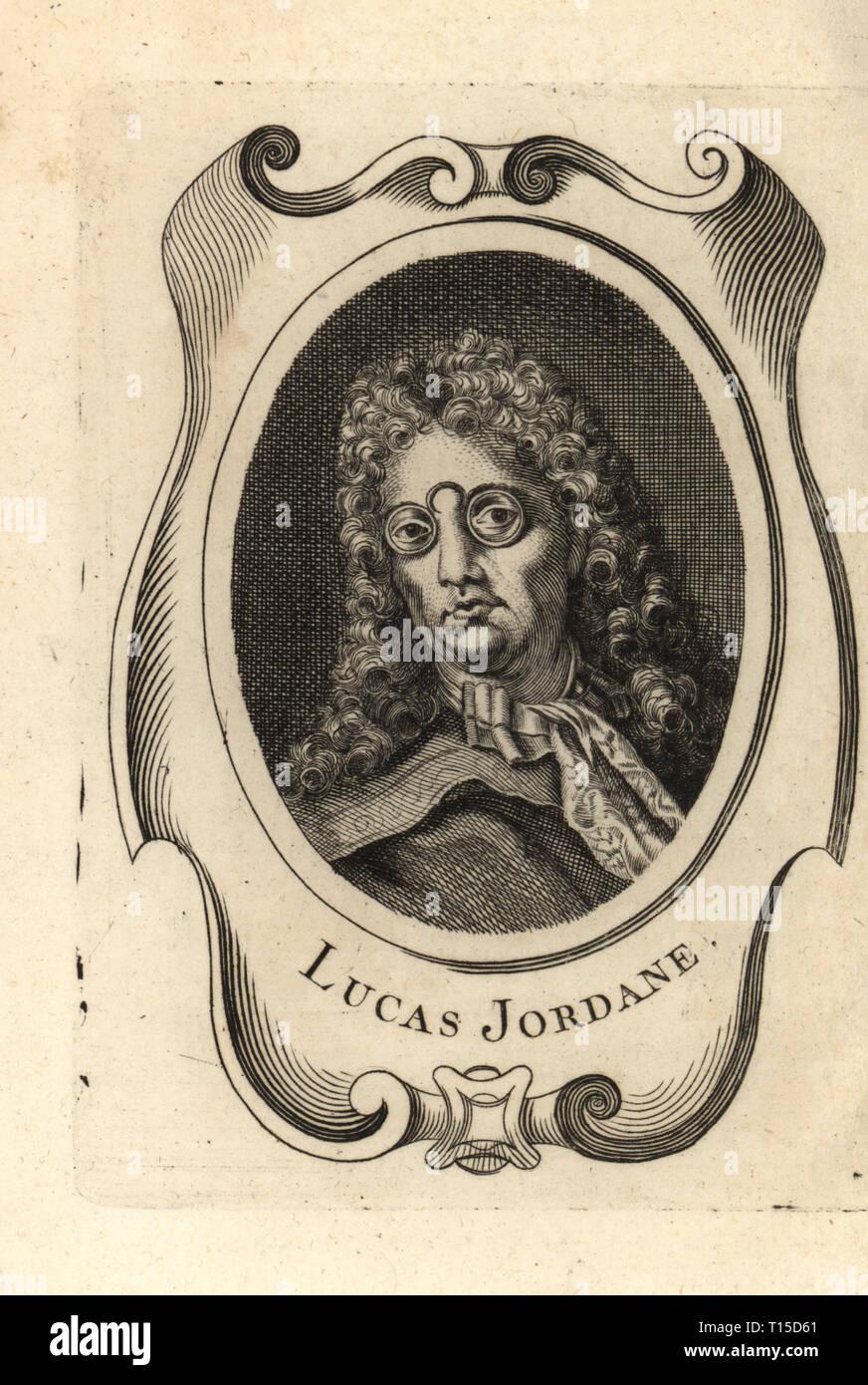 Portrait of Luca Giordano, Italian Baroque painter and printmaker 1634-1705. Lucas Jordane. Copperplate engraving after a self portrait by Luca Giordano from Antoine-Joseph Dezallier d'Argenville's Abrege de la vie des plus fameux peintres, Lives of the most Famous Artists, de Bure l'Aine, Paris, 1762. - Stock Image