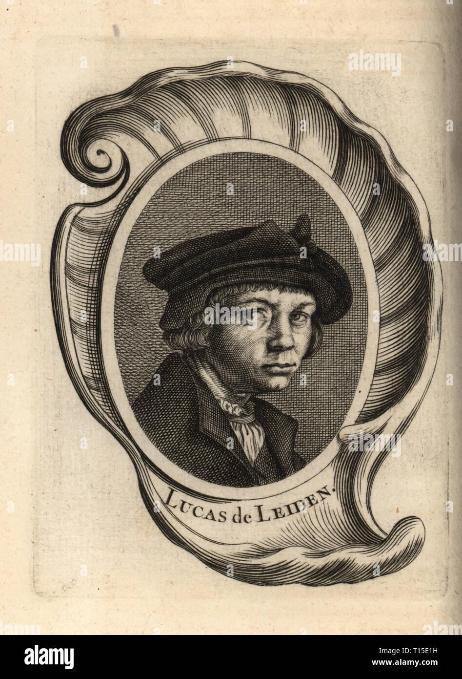 Portrait of Lucas van Leyden, Dutch painter and printmaker 1494-1533. Lucas de Leiden. Copperplate engraving after a self portrait by van Leyden from Antoine-Joseph Dezallier d'Argenville's Abrege de la vie des plus fameux peintres, Lives of the most Famous Artists, de Bure l'Aine, Paris, 1762. - Stock Image