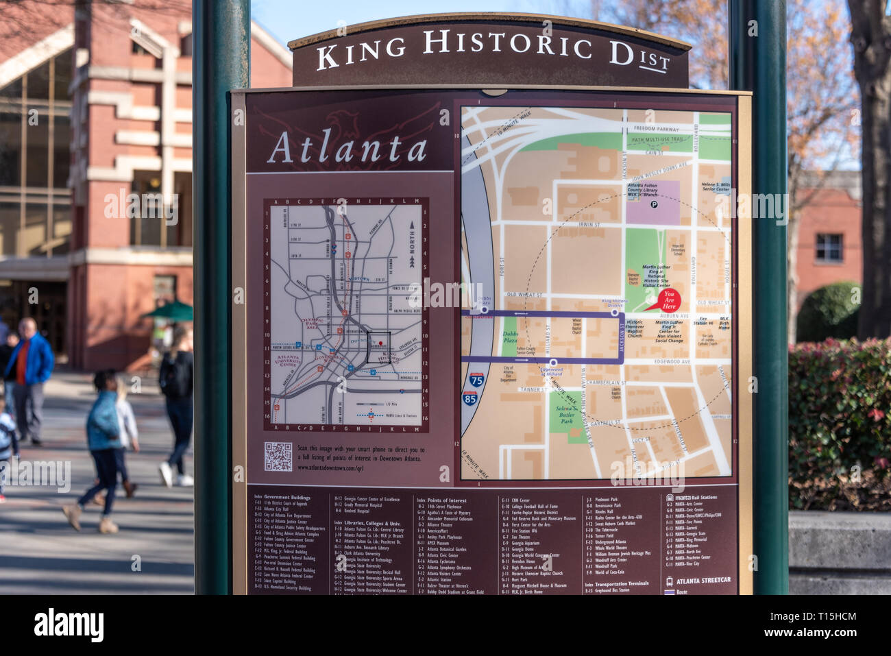 Location sign with map of the King Historic District at the Martin Luther King Jr. Historical Park in Atlanta, Georgia. (USA) - Stock Image
