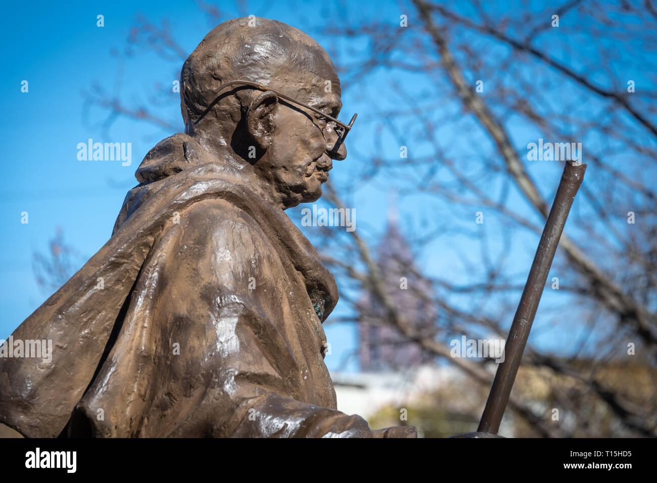Mahatma Gandhi statue at the Visitor Center of the Martin Luther King, Jr. Historical Park in Atlanta, Georgia. (USA) - Stock Image