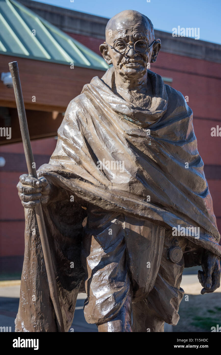 Mahatma Gandhi statue at the Visitor Center of the Martin Luther King, Jr. Historical Park in Atlanta, Georgia. (USA) Stock Photo