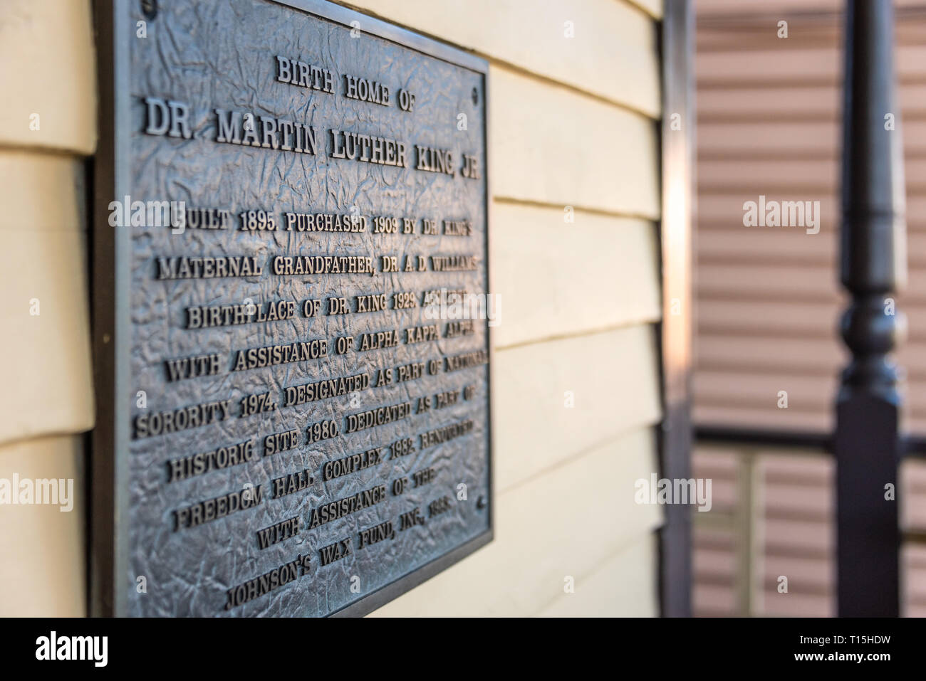 Historical plaque at the birth home of Dr. Martin Luther King, Jr. in Atlanta, Georgia. (USA) - Stock Image