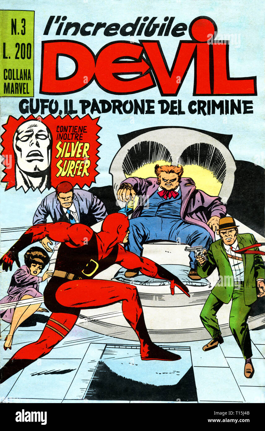 Italy - 1970: first edition of Marvel comic books, cover of Daredevil, l'incredibile Devil Stock Photo